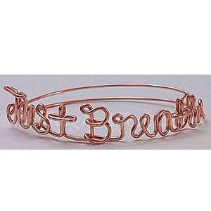 "Handmade Custom Wire ""Just Breathe"" Bracelet"